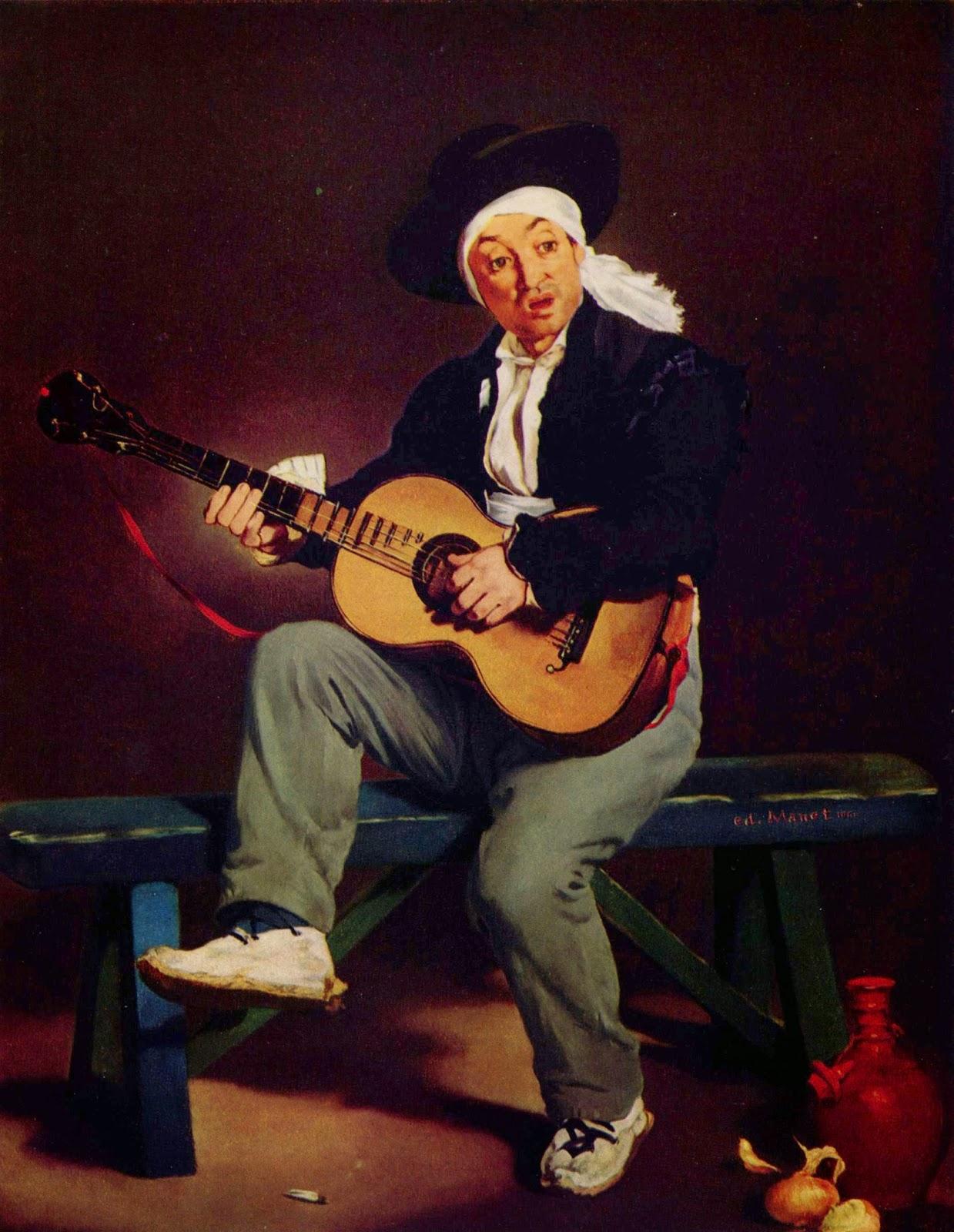 O Cantor Espanhol - Pinturas impressionistas pintadas por Édouard Manet