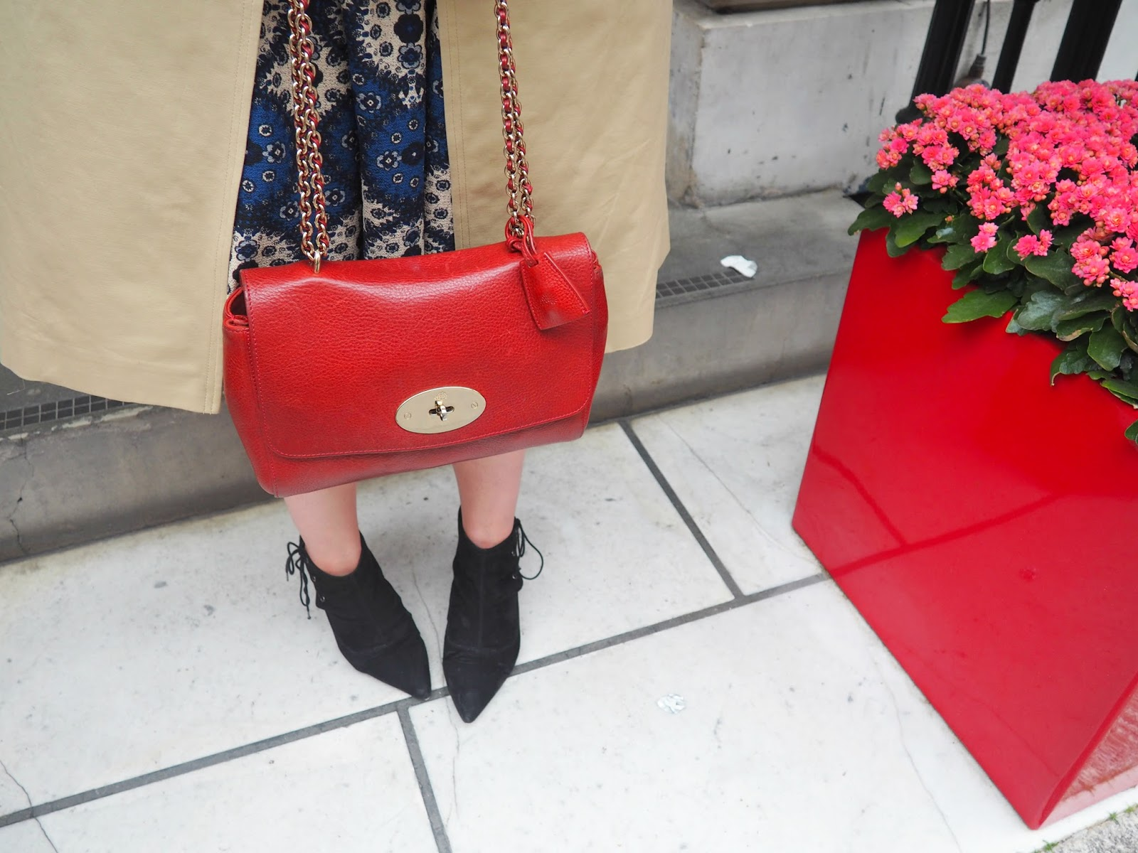 Blue paisley midi dress  Boohoo via ASOS (similar) Black pointed suedette  ankle boots  ASOS (similar) Poppy red lily bag  Mulberry f96f4d6a27004