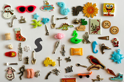 TomToy Individual letter S I spy trinkets for alphabet, Miniature abc objects, Montessori alphabet. Sorting toddler activities