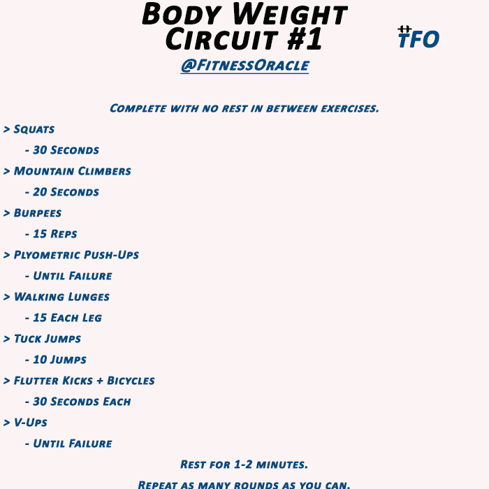 The Fitness Oracle: Out of the Gym Workout: Body Weight Circuits