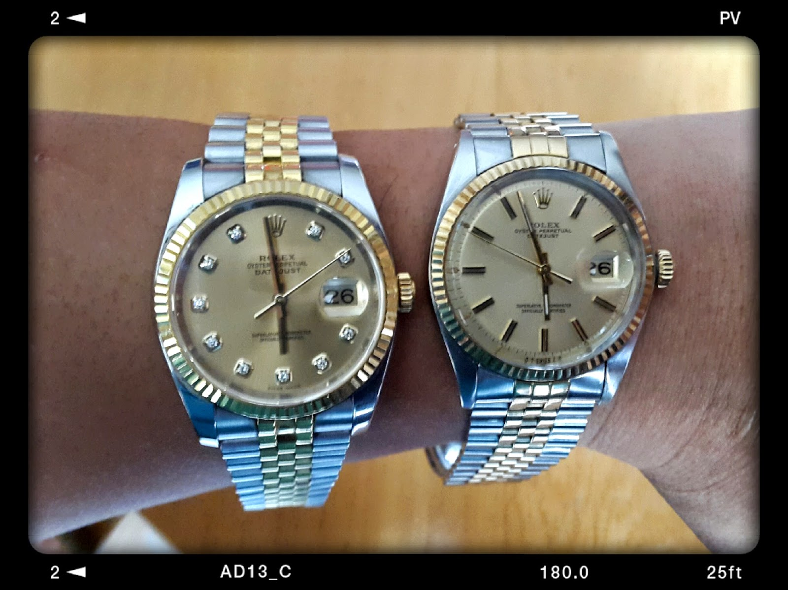 C-segment Wrist Watches: Rolex Datejust : 40 Years Apart...Rolex Datejust 36mm On Wrist