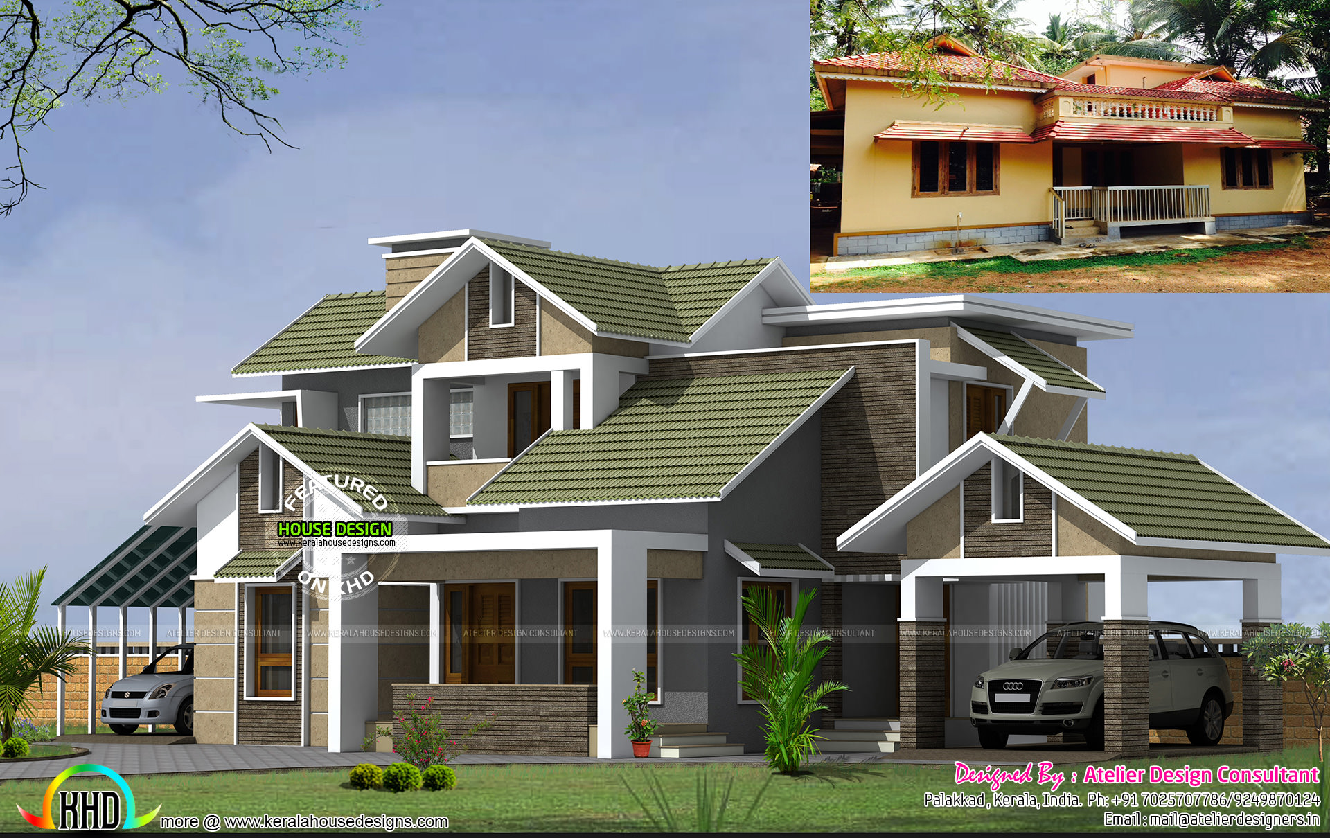 22 years old home turned to modern style home kerala for Colonial style house plans kerala