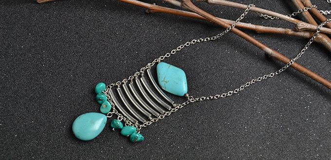 Crafting wire tutorial on making a natural turquoise bead necklace if you adore this pendant chain necklace design you can follow this tutorial to learn how to make it aloadofball Image collections