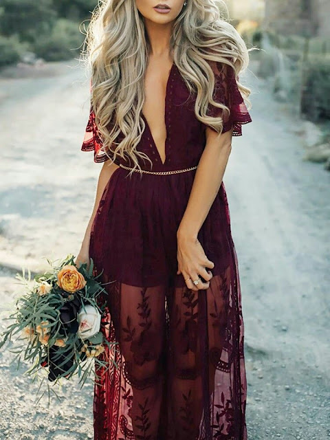 Wedding V neck maxi romper Dress