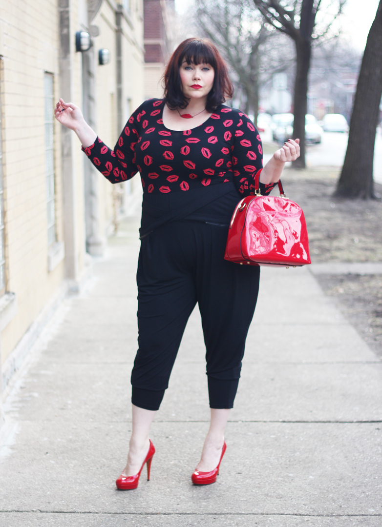 Plus Size Valentines Day Look with Lip Print Top and Harem Pants, City Chic, Boohoo Plus, Fashion to Figure
