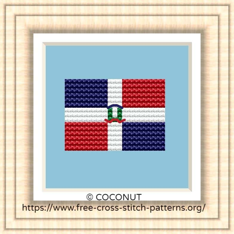 NATIONAL FLAG OF DOMINICAN REPUBLIC CROSS STITCH CHART