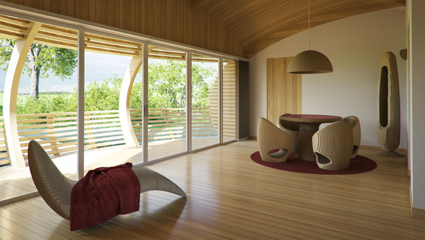 Water Nest 100 An Eco-Friendly, Solar-Powered Home Made With Near 100% Recycled Materials - The bedroom is spacious and the furniture chosen to display the room really matches the curvature of the Water Nest and ties everything in. All furniture is from EcoFl