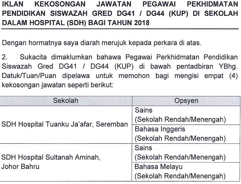 Iklan Kekosongan Jawatan Pegawai Perkhidmatan Pendidikan Siswazah Gred DG41/DG44 (KUP) di Sekolah Dalam Hospital