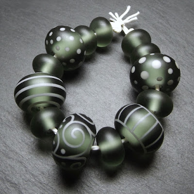 Tumble-etched lampwork glass beads by Laura Sparling
