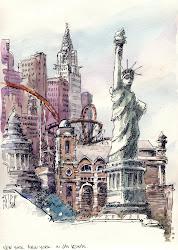york vegas las urban nyc sketchers sketch liberty statue drawing sketches watercolor drawings landscape sketching fijten rene renefijten artist usa
