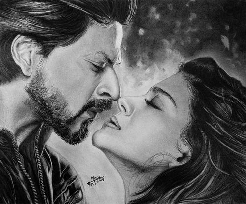 Shah Rukh Khan And Kajol Latest HD Black and White Wallpaper