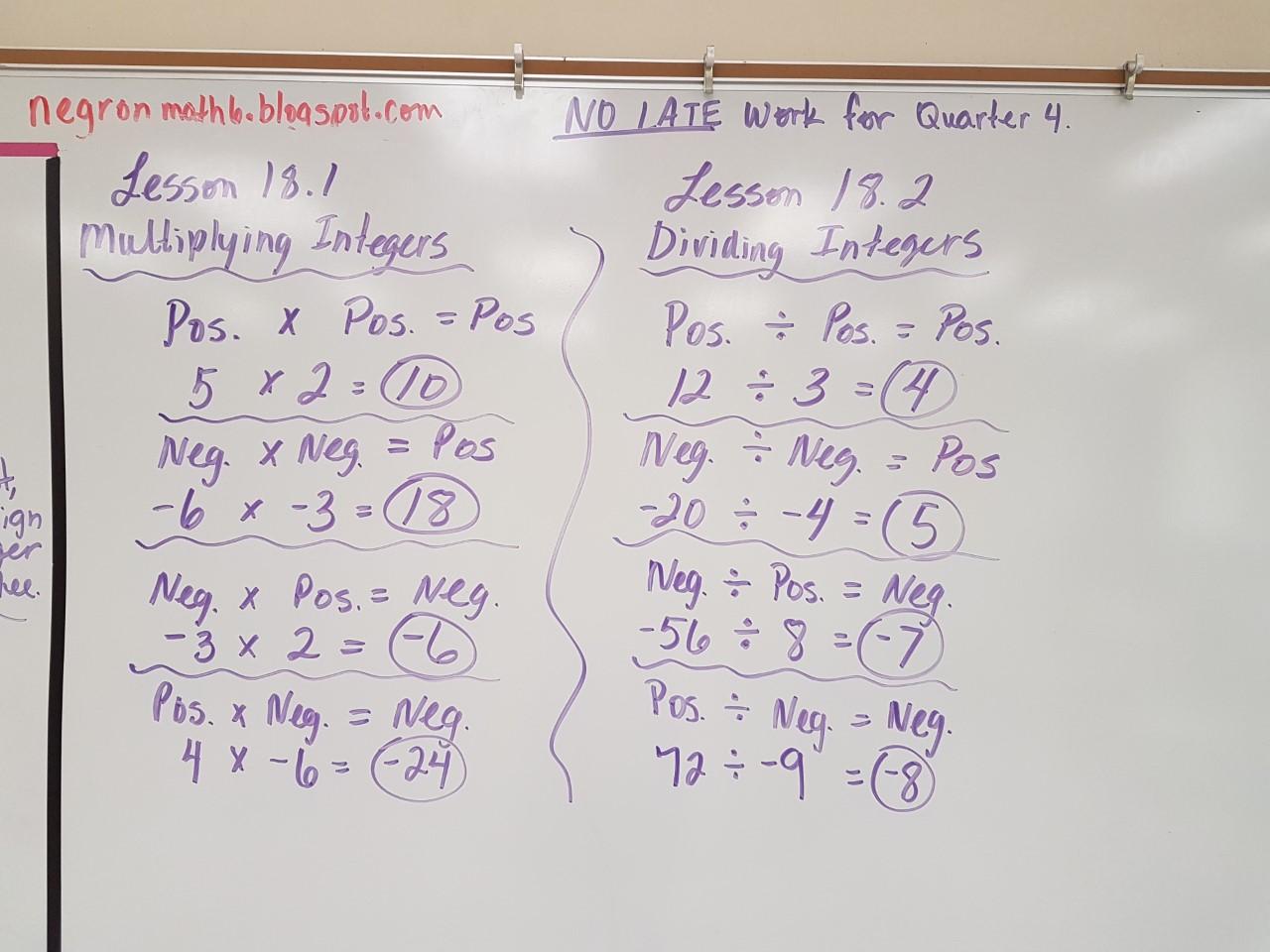 Mrs Negron 6th Grade Math Class April
