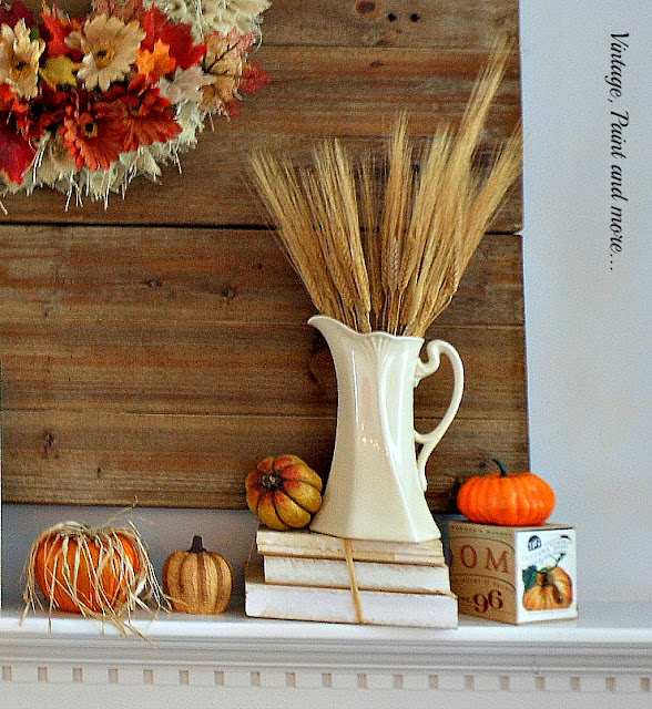 Vintage, Paint and more... Fall Mantel for 2015 done with traditional fall colors and thrifted pieces
