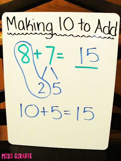 Make a 10 to Add anchor chart idea for the making a 10 addition strategy.. read this for step by step instructions on how to teach it in fun ways and lots of awesome and easy activities and resources to do it with!