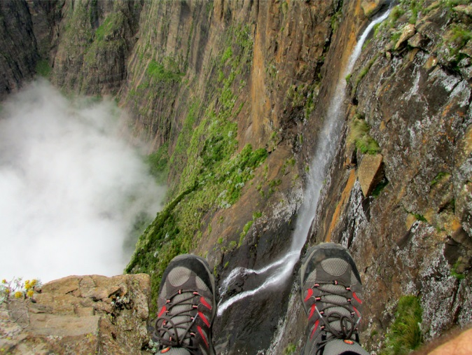 Tugela Falls located in the Drakensberg Dragon's Mountains of Royal Natal National Park in KwaZulu-Natal Province is 948 meters or 3,110 feet high and is the highest waterfall in Africa.