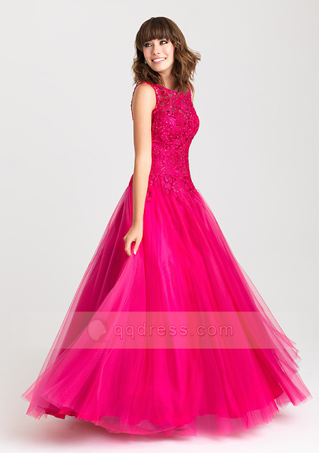 Sweet Princess Bateau Floor-Length Tulle Prom Dress with Appliqued