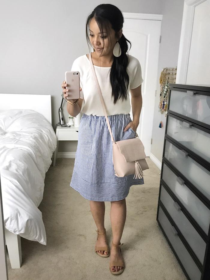 light blue striped skirt + white top + blush