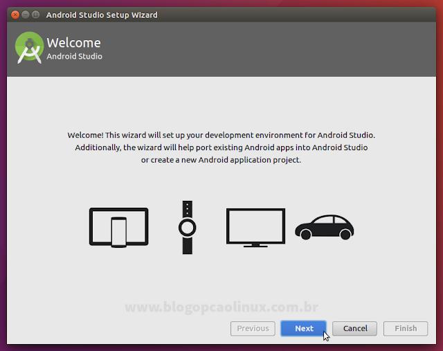 Janela principal do instalador do Android Studio