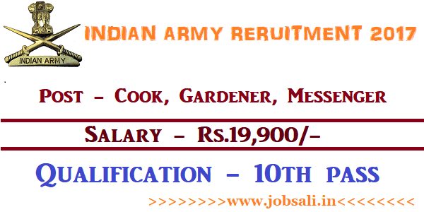 Indian Army Vacancy, Indian Army jobs, Indian Army Cook Vacancy