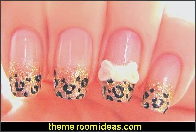 Animal Print Zebra Leopard Nail Decals-Art Decoration Glitter Sticker