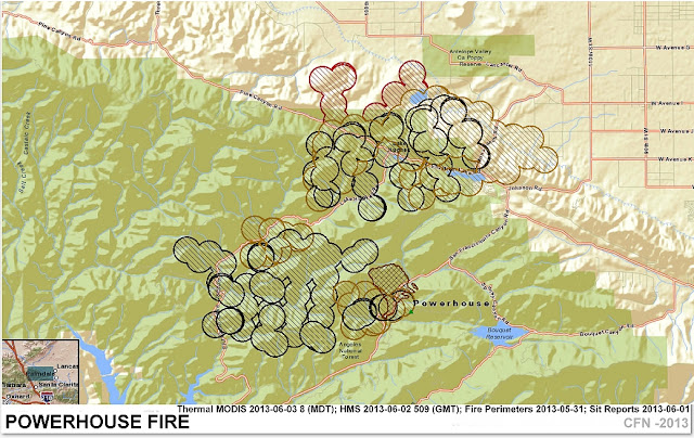 POWERHOUSE WILDFIRE MODIS LOCATION & PERIMETER MAP [STREET]