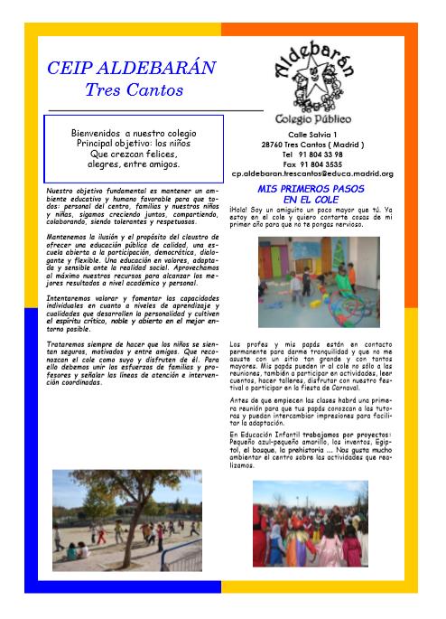 Colegio Público Aldebarán - Tres Cantos NOVEDADES Y ANUNCIOS: 2018
