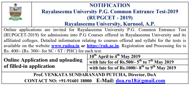 RU PGCET 2019 notification - Rayalaseema University pgcet admission