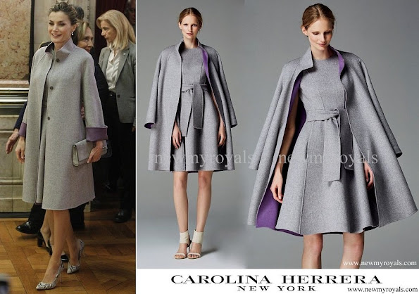Queen Letizia wore Carolina Herrera  dress and coat from-Fall 2016 2016 collection