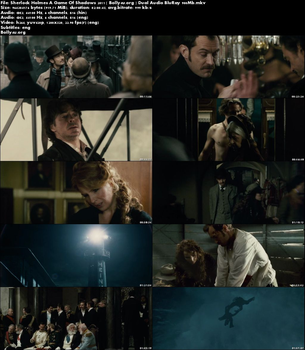 Sherlock Holmes A Game Of Shadows 2011 BRRip 400Mb Hindi Dual Audio 480p Download