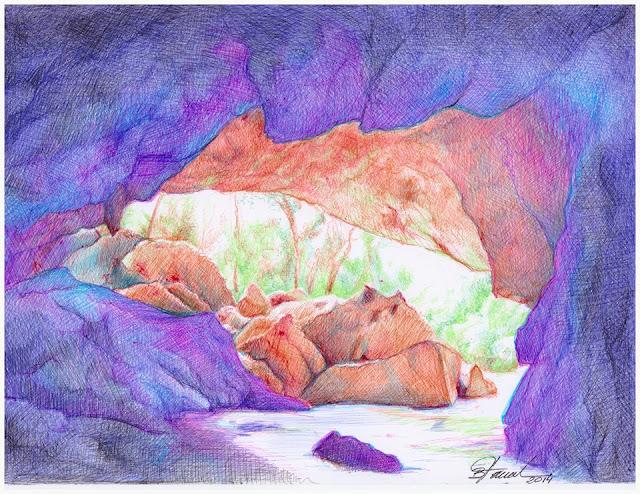 art by Birgitte Tümmler in ballpoint pen / biro - Bacaetava Cave - Brazil