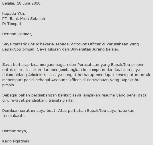 Application Letter In Bahasa Malaysia Contoh Resume Dan Cover