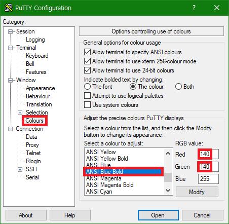 [PuTTY] PuTTY 환경 설정에서 파란색 색상 변경하기