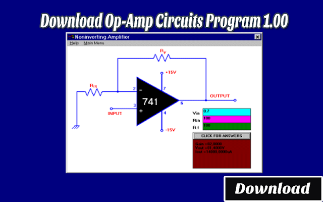 Download Op-Amp Circuits Program 1.00 | Kalkulator / Info & Softwares Elektronika