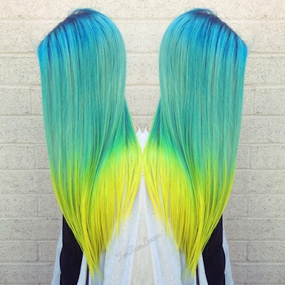 Stunning Turquoise to Green Ombre  Hairstyle