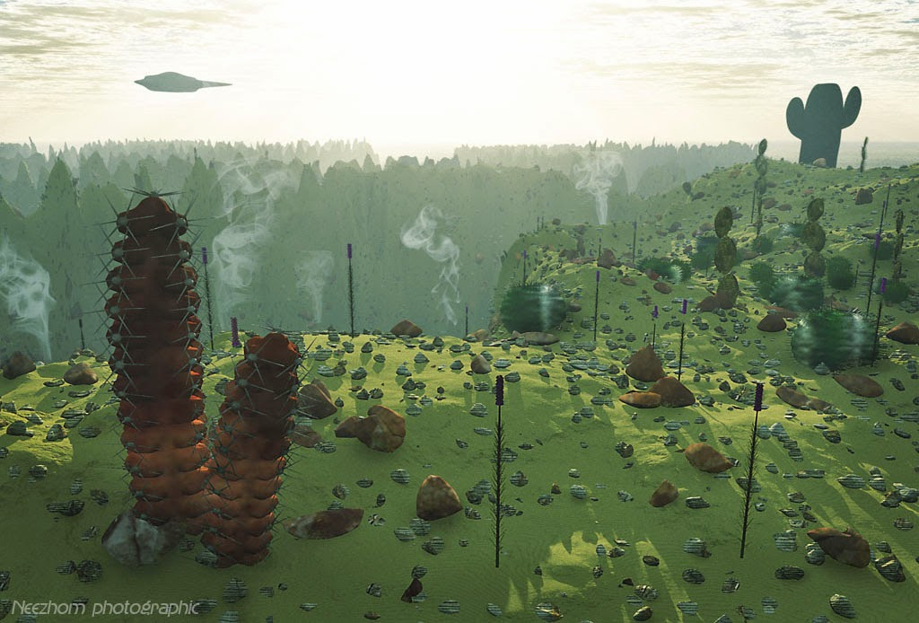 Valley of the cactuses 3d graphic landscape picture