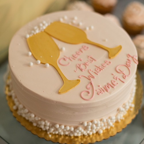champagne bridal shower cake