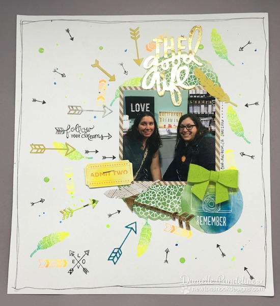 Arrow Scrabpook Page by Danielle Pandeline | Adventure Awaits Stamp set by Newton's Nook Designs #newtonsnook