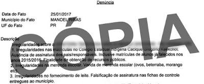 Manoel Ribas: Supostas irregularidades na direção de Colégio Estadual estão dando o que falar