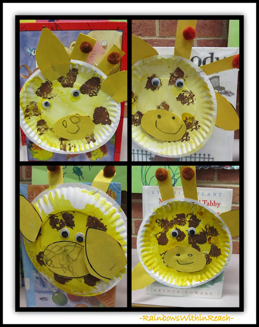 "Preschool Paper Plate Giraffe Creations in Response to picture book, ""Tall Giraffe"" by Debbie Clement"