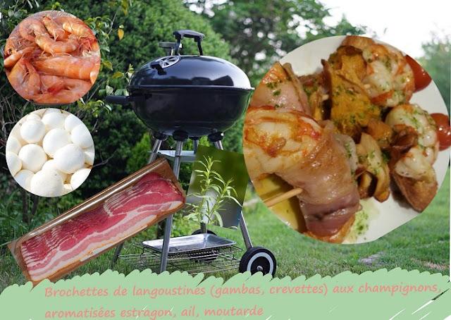 langoustines, gambas, crevettes au bbq en brochettes