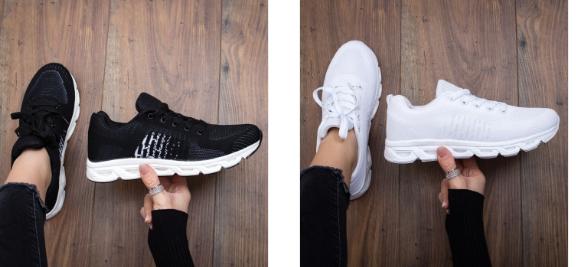 Pantofi sport la moda 2019 din panza albi, negri de calitate