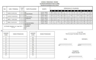 Jadwal Pengawas Ruang Ujian (UAS atau UKK)