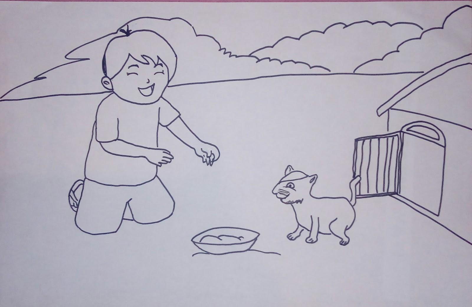 apa ya aku mengambil untuk bercerita sambil memperlihatkan gambar anak sedang memberi makan kucing peliharaannya Gambar itu seperti berikut