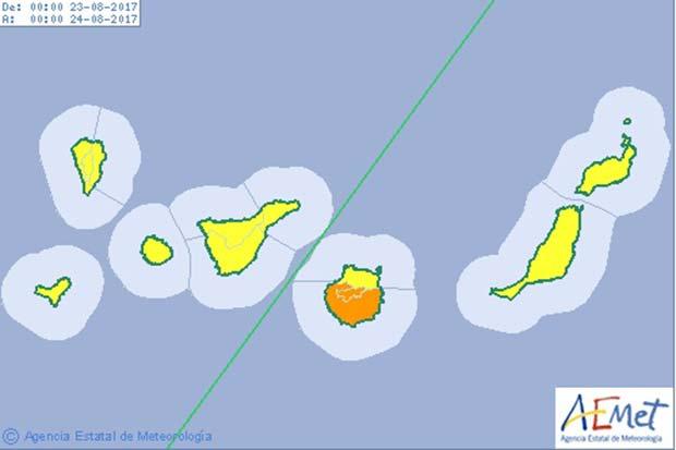 La  isla de Gran Canaria con avisos naranjas por calor el martes 22 y el  miércoles 23 de agosto