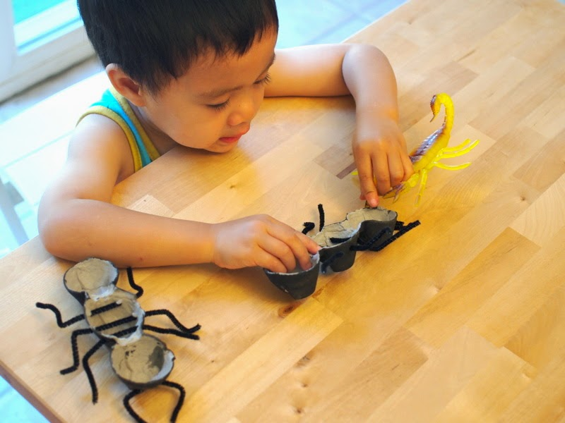 child playing with egg carton ant and scorpian