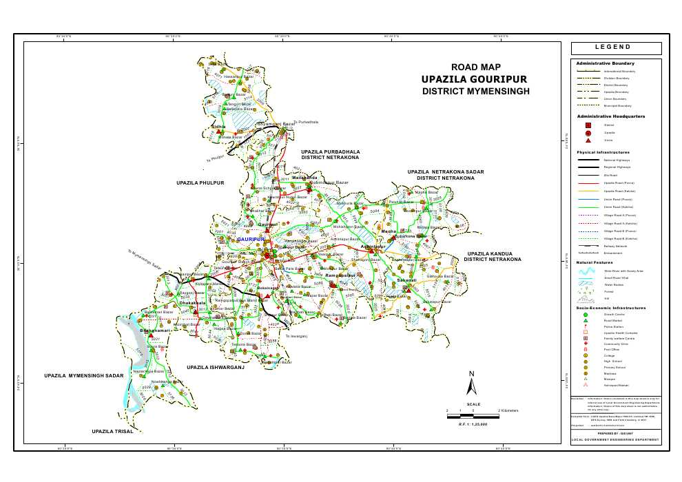 Gouripur Upazila Road Map Mymensingh District Bangladesh