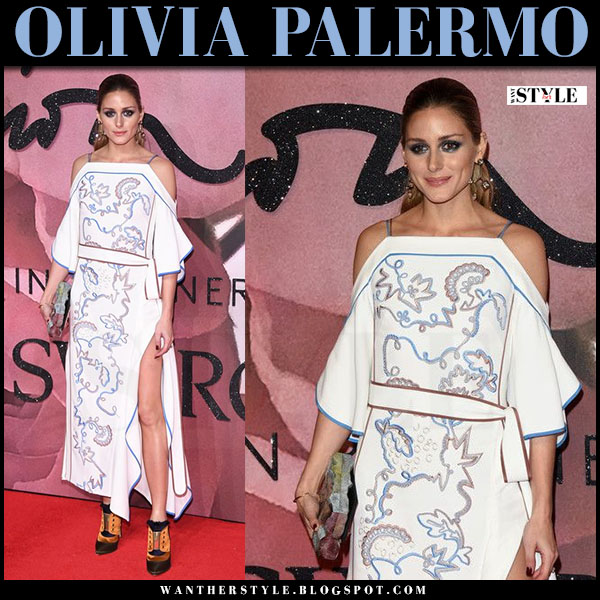 Olivia Palermo in white embroidered off shoulder dress peter pilotto what she wore