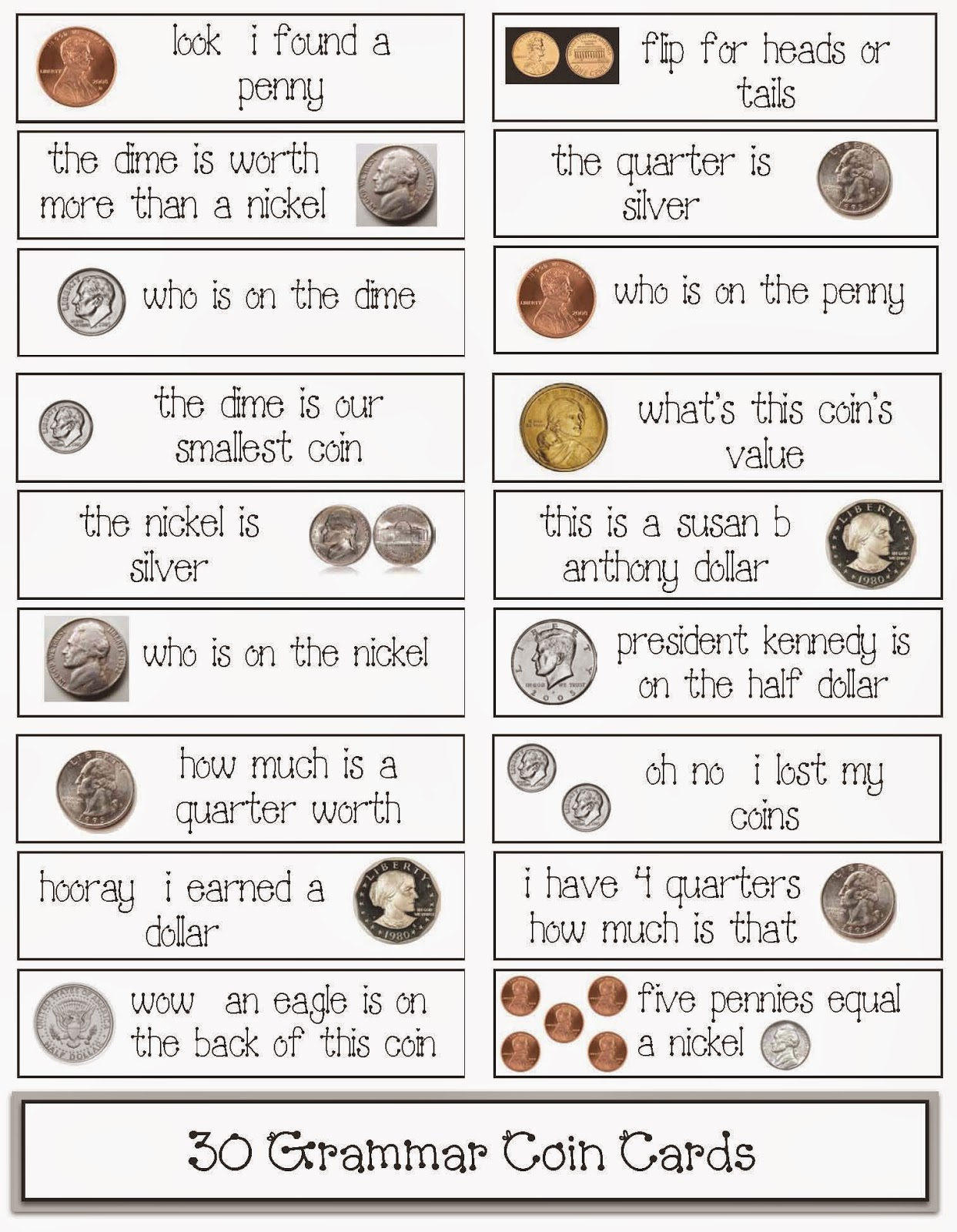 Classroom Freebies 30 Coin Themed Grammar Cards