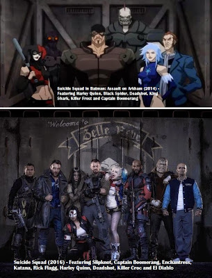 Suicide Squad 2016 live action team group photo comparison animated movie Batman Assault on Arkham 2014