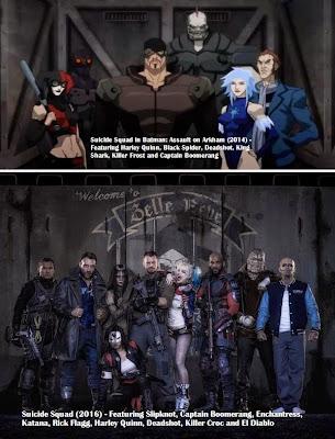 Suicide Squad 2016 live action team group photo comparison animated movie Batman Assault on Arkham 2014